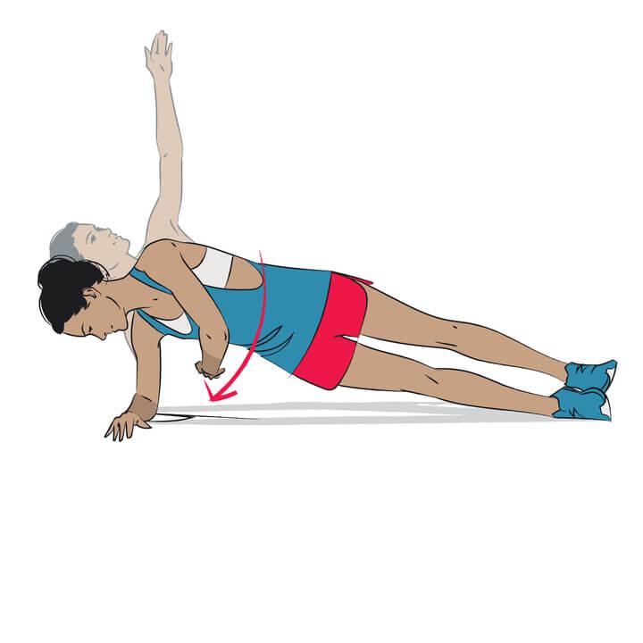 Side Plank Twist Übung